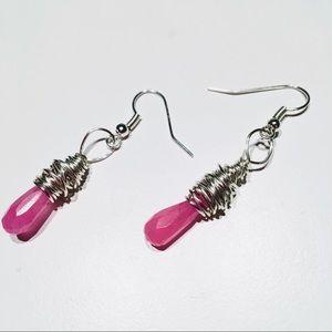 Pink Jade Gemstone Wirewrapped Earrings